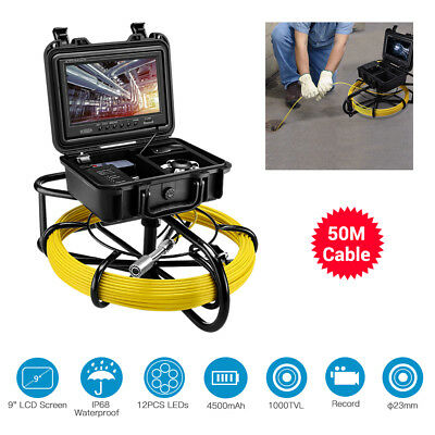 """EYOYO 50M Sewer Camera 9"""" IP68 LCD Display Drain Pipe Pipeline Inspection System"""