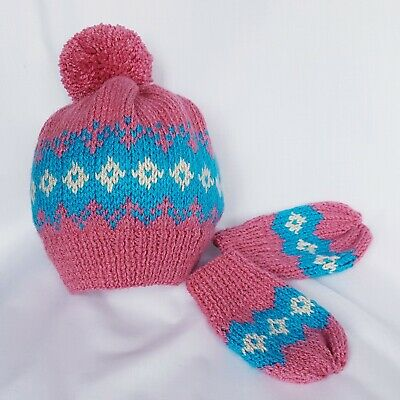 Baby/Child, TODDLER, Hand knitted bobble hat & Mittens set, Gift, Keep Warm