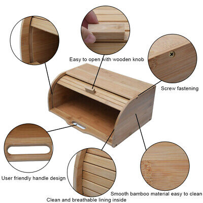 US Roll Top Bamboo Wood Bread Box Loaf Container Kitchen Food Storage Bin Large