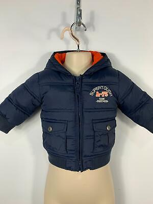 Boys Next Navy Blue Padded Winter Puffer Hooded Coat Kids Jacket Age 6/9 Months