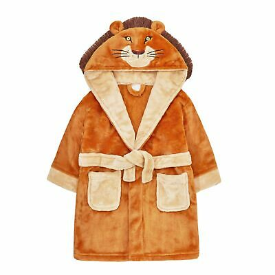 Boys Novelty 3D Lion Robe Hooded Fleece Dressing Gown Kids Dress Up Bathrobe
