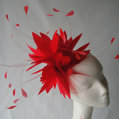 Scarlet Feather Fascinator for Weddings, Races and Proms