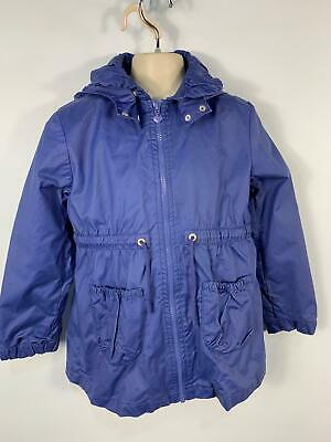 Girls H&M Blue Light Weight Zip Up Casual Rain Coat Hooded Kid Age 7/8 Years