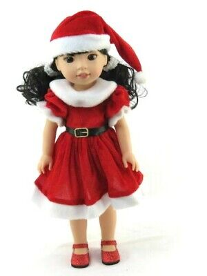 """Red Christmas Santa Dress & Hat For 14.5"""" Wellie Wishers AG Doll Clothes"""