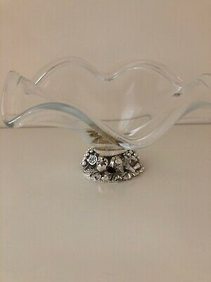 """Murano Crystal Clear Glass Art Bowl Labeled  Silver Fruit Base Italy Large 12"""""""