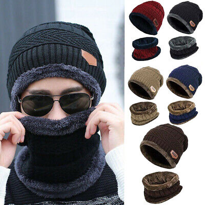Men's Winter Beanie Hat and Scarf Set Warm Fleece Knitted Thick Knit Cap Unisex