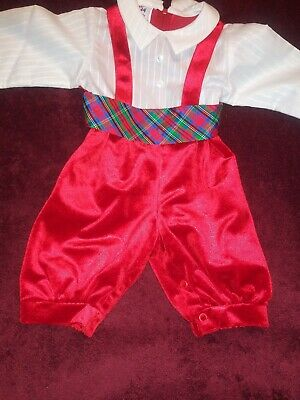 Vintage Best Buddy Christmas Holiday Toddler Baby Boy Outfit 2 Piece 12 M Usa