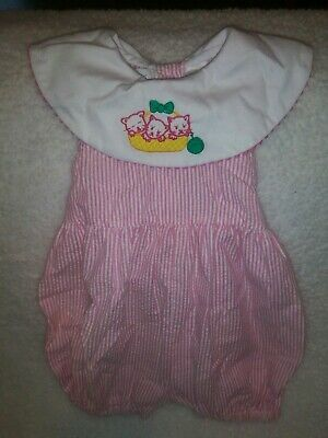 Vintage Smocked One Piece Romper Kitty Cat Toddler Baby Girls Sz 6-9 Months