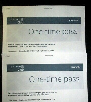 TWO United Airlines UA Club One-Time Pass -  Exp 09/11/2020