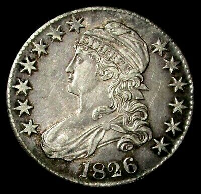 1826 Silver Capped Bust Half Dollar Lettered Edge  Choice About Unc Condition