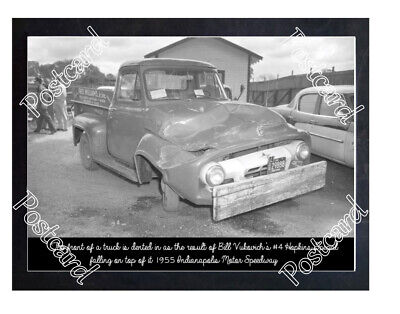 Historic Truck Damage From Bill Vukovich's #4 Hopkins Special 1955 Indy Postcard