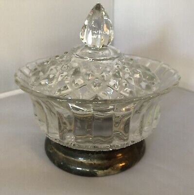 Vintage KIG & Firna Indonesia Glass Bowl with Lid Silver Plated Base Crystal Cur