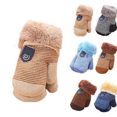 1 Pair Infant Baby Kids Winter Warm Cute Knit Mittens Thicken Full Finger Gloves