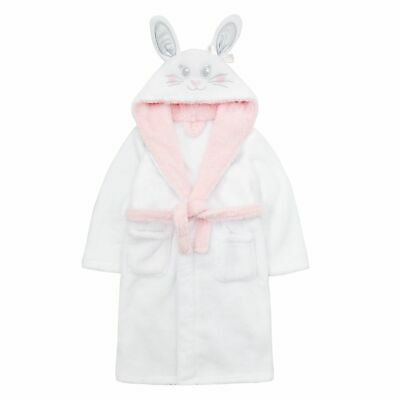 Girls Novelty 3D Bunny Rabbit Robe Hooded Fleece Dressing Gown Kids Bathrobe