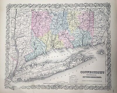 Antique 1855 Connecticut Map Hand-Colored from Colton's Atlas - Original