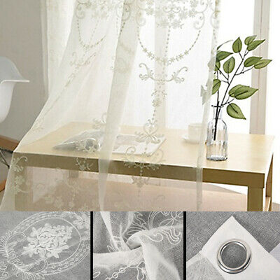Embroidery Lace Voile Net Curtains Panel Eyelet Ring Top Jardiniere Damask