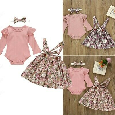 3pcs Toddler Baby Girl Long Sleeve Romper+Floral Print Suspender Skirts Outfit 4