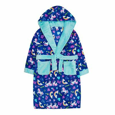 Girls Rainbow Unicorn Robe Hooded Fleece Dressing Gown Kids Bathrobe Housecoat
