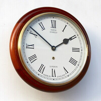 ENGLISH SMITHS 1940s Mahogany Vintage Retro Industrial Factory Wall Clock