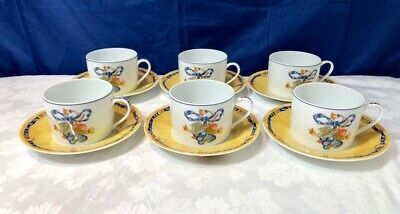 Bernardaud Limoges Porcelain Borghese Bleu 6 Tea cup & saucer NEW IN BOX