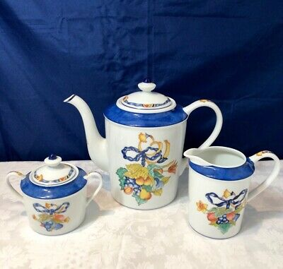Bernardaud Limoges Porcelain Borghese Bleu Coffeepot + Sugar bowl + Creamer NEW