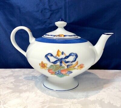 Bernardaud Limoges Porcelain Borghese Bleu Teapot / Teiera NEW IN BOX