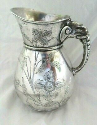 Antique Figural Wilcox Aesthetic Silver Plate Lg Water Pitcher, Elephant Handle