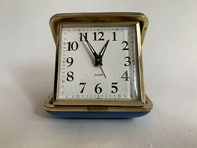 Vintage 1970s Blue Plastic Case Travel Alarm Clock Working Time Piece Unbranded
