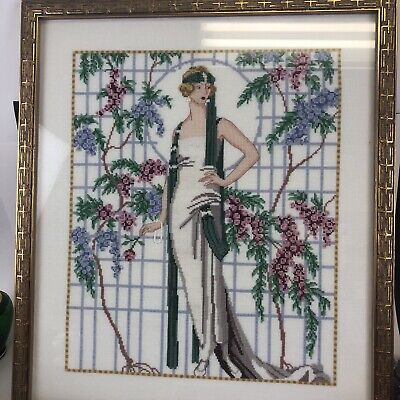 art deco flapper lady completed needlepoint framed picture art