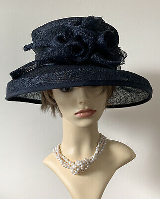 Victoria Ann Sinamay Dark Blue Dress Hat With Front Rosette Detail And Band
