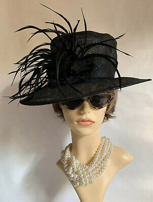 Marks And Spencer Sinamay Straw Black Dress Hat Flower & Large Feather Detail