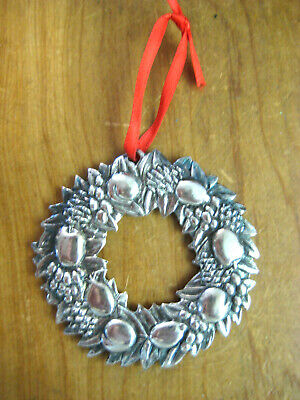 1994 Reed & Barton Silver Plated Delaware Wreath Ornament ~ FREE SHIPPING