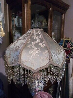 Victorian French Lotus  Lamp Shade large Antique Green Bead fringe Beautiful!!