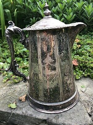 Antique Victorian MERIDEN Brit's Silver Plated Greek Key Water Pitcher As Is