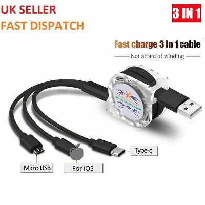 Universal 3 in1 Multi USB Charger Charging Sync Cable for Android Phones iPhone
