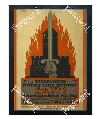 Historic WWI German Poster Help! East Prussians protect your homeland Postcard