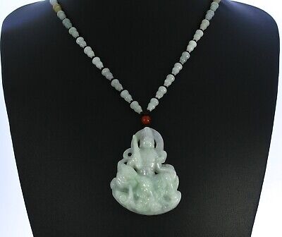"2.3""China Certified Grade A Nature Hisui Jadeite Jade Blessing Manjusri Pendants"