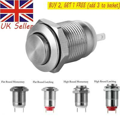 Round Metal  Ring Waterproof  Push Button Switch Push Button Momentary 12mm UK