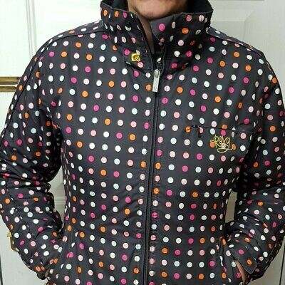 Roxy Brown Multicolored Dots Padded coat Size Xs Uk 8/no Hood