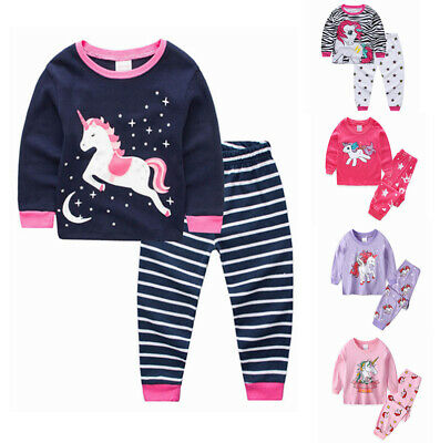 Unicorn Girls Kids Long Sleeve Pyjamas sets Sleepwear Outfit Homewear Age 1-7Y