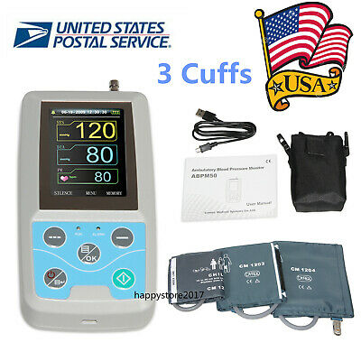 FDA Ambulatory Blood Pressure Monitor NIBP Holter ABPM50 24 Hour Record + 3Cuffs