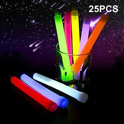 25 Premium Glow Sticks Wrapped 6inch Long Party Neon Safety Light