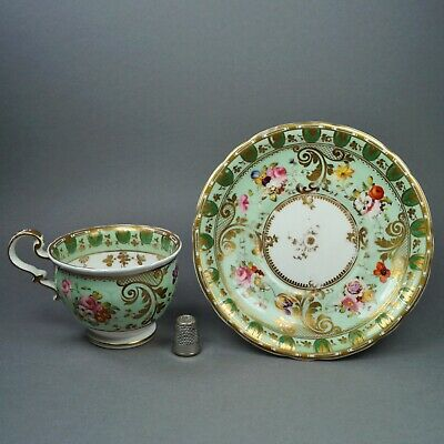 Early 19th Century Pretty Green Porcelain Cup And Saucer English Florals Ridgway