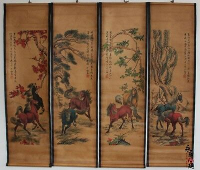 Collectible set of 4 Decor China long Scroll Painting Courser horse landscape