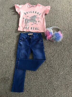 Girls Outfit Age 5 Next Skinny Jeans Tshirt And Ear Muffs Immaculate