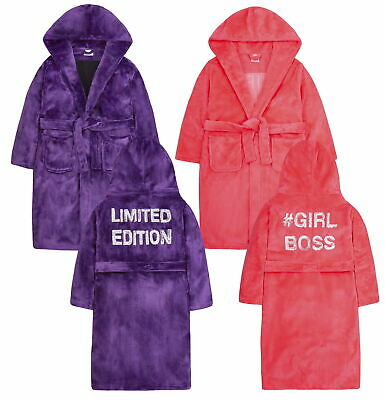 Girls Sequin Slogan Robe Hooded Fleece Dressing Gown Kids Soft Plush Bathrobe
