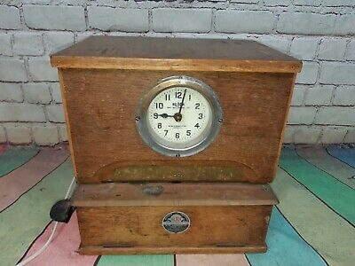 Antique Oak Blick Clock Time Recorder Clocking in Machine