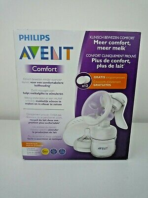 Philips Avent Comfort Manual Breast Pump With 12 Free Pads / New & Sealed