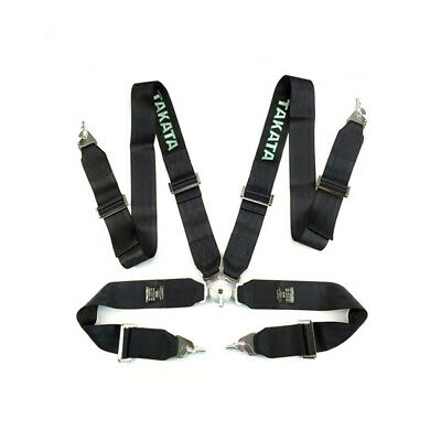 "Takata Race Seat Belt 4 Point FIA Approved Drift 3"" ASM Snap On Harness - Black"
