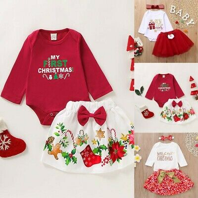 Infant Baby Girl Christmas Print Long Sleeve Romper Bodysuit+TuTu Skirts Outfit